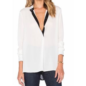 Vince Silk Color Tipped Blouse Tunic